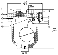 Air Vent for Liquid Systems - AVDT Series - Dimensions