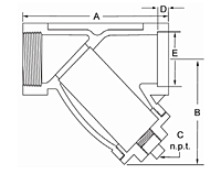 """Y"" Strainer Steel/Stainless Steel - Dimensions"