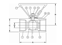 One-Piece Carbon Steel Body Ball Valve - Dimensions