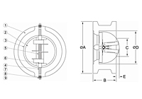Cast Iron Twin Door Wafer Check Valve - Dimensions